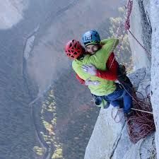 Tommy Caldwell, left, and Kevin Jorgeson, congratulate each other on their historic climb. Photo Courtesy of news.nationalgeographic.com